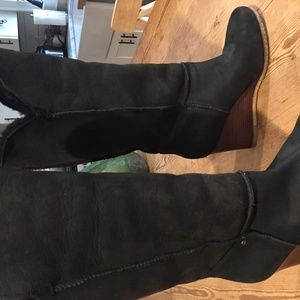 Women's UGG wedge black boots